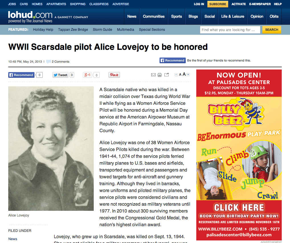 WWII Scarsdale pilot Alice Lovejoy to be honored