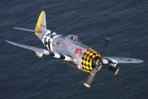 American Airpower Museum P-47D Thunderbolt over Jones Beach NY