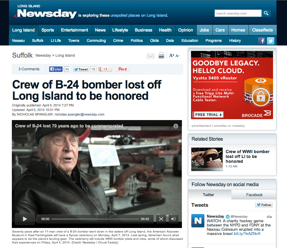 Crew of B-24 bomber lost off Long Island to be honored