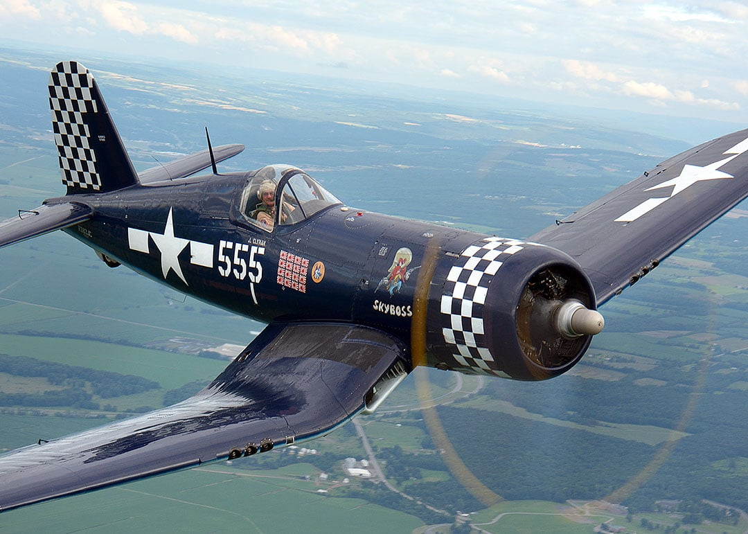 FG-1D Corsair of the American Airpower Museum over Geneseo NY Jul 2013