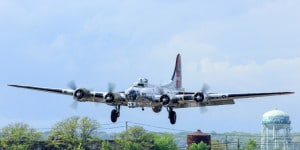 "B-17G ""Yankee Lady"" on final approach at the American Airpower Museum at Republic Airport, Farmingdale Long Island"