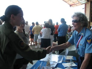 WASP Bee Haydu greets the current generation of Women Military Aviators during a past Memorial Day Weekend at the American Airpower Museum at Republic Airport.