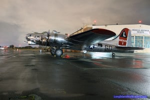 "Yankee Air Force B-17G ""Yankee Lady"" on the ramp at the American Airpower Museum during a Memorial Day Weekend night."