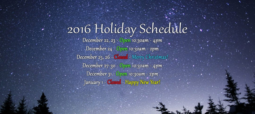 holiday schedule 2016