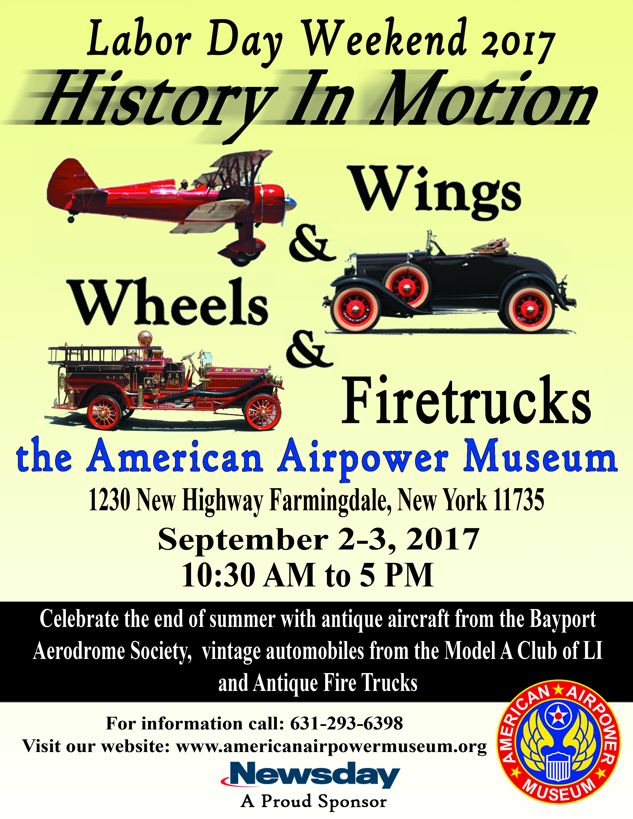 Labor Day Weekend 2017-History In Motion-Wings & Wheels & Firetrucks